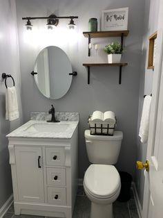 Half Bath Decor, Half Bathroom Decor, White Vanity Bathroom, Bathroom Interior, Bathroom Ideas, Bathroom Sink Faucets, Bathroom Renos, Bathroom Organization, Powder Room Vanity