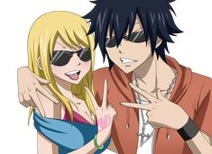 Lucy and Grey from Fairy Tail.