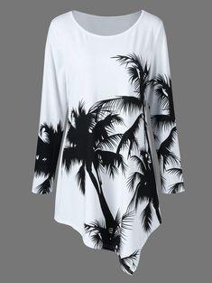 Long Sleeve Plus Size Palm Print Asymmetrical T-Shirt - WHITE/BLACK 3XL