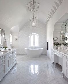 White bathrooms 162551867778940625 - White Master Bathroom with Barrel Ceiling and Marble Chevron Floor Source by katmak White Master Bathroom, Small Bathroom, Master Bathrooms, Bathroom Ideas, Bathroom Designs, Bathroom Organization, Bathroom Renovations, White Bathrooms, Bathroom Showers