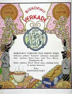 Indonesian Old Commercials: BISKOEWIT VERKADE TJAP AMPAT SINJO Vintage Stamps, Vintage Prints, Vintage Ads, Vintage Posters, Old Advertisements, Advertising, Old Commercials, Dutch East Indies, Poster Ads