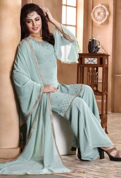 At Nikvik, we have a #huge #collection of the #Readymade #Salwar Kameez suits in a variety of styles.  #Nikvik is the #bestseller of Readymade Salwar #Kameez #suit in #USA #AUSTRALIA #CANADA #UAE #UK Readymade Salwar Kameez, Pakistani Salwar Kameez, Salwar Kameez Online, Pakistani Dresses, Salwar Suits, Sea Green Color, Palazzo Suit, Green Suit, Green Fabric
