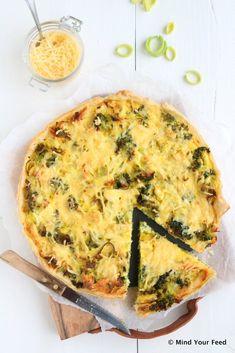 Quiche met broccoli, kip en oude kaas