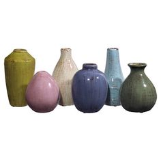 Set of six weathered ceramic vases.Product: 1 Small, 2 medium and 2 large vases  Construction Material: Ceramic
