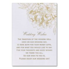 Wedding Gift Poem Pots And Pans : request/ wishing well/ wedding day gift poem cards eBay Weddings ...