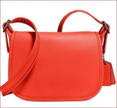 34054ccdfa Coach Womens Small Glovetanned Leather Saddle Shoulder Bag 18-Dark  Deep  Coral  Coach