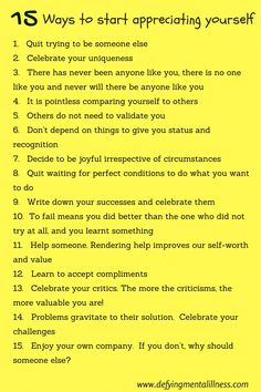 Learn to appreciate yourself, your value & your self worth