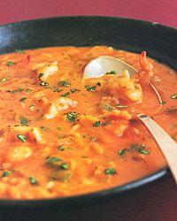 Fantastic soup with shrimp, coconut milk, and cilantro.