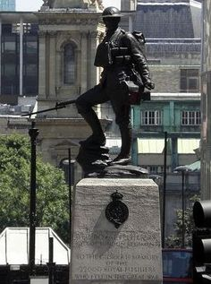 Memorial - The Royal Fusiliers memorial at Holborn in London, commemorating the 22000 men of the regiment who lost their lves in the Great War. Image courtesy of the trainmanchuff collection at flickr.com, with thanks.