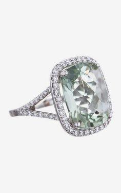 Prasiolite and Diamond Ring