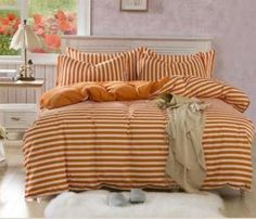 Set lenjerie de pat Orange model dungi