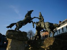 A sculpture of horses fighting, Hasselt, Belgium