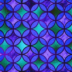QUATREFOIL METALLIC GLOW BLUE EMERALD PURPLE TURQUOISE CELADON  MEDIEVAL JAPANESE SYMBOL fabric by paysmage on Spoonflower - custom fabric