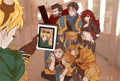 this is actually kinda cute bc ezreal is taking a selfie with an unaware lux >. <
