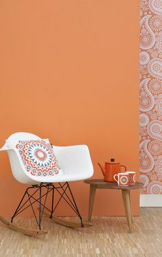 Mini Moderns Environmentally Responsible Paint: Tangerine Dream with Paisley Crescent wallpaper