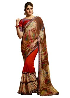 Izabelle Leite Georgette Lace Work Brown & #Red Printed Half & #Half #Saree