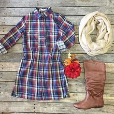 """How cute is this?! #Plaid #Tunic #Dress $34.99 S-L #Slouch #Boots $34.99 6-10 #Scarf $21.99 We #ship! Call to order! 903.322.4316 #shopdcs #goshopdcs #instashop #shopfall #october #love"" Photo taken by @daviscountrystore on Instagram, pinned via the InstaPin iOS App! http://www.instapinapp.com (10/05/2015)"