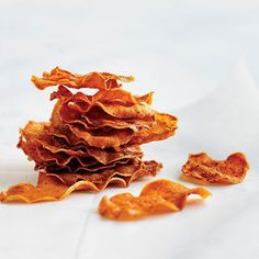 Baked Sweet Potato Chips | couldn't slice them thin enough and used toooooooo much salt.  Will try again  :-)   11.23.13