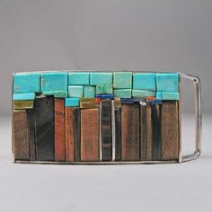Charles Loloma Silver Inlay Belt Buckle