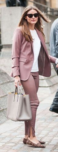 Olivia Palermo teaches us a lesson in blush suiting for work.