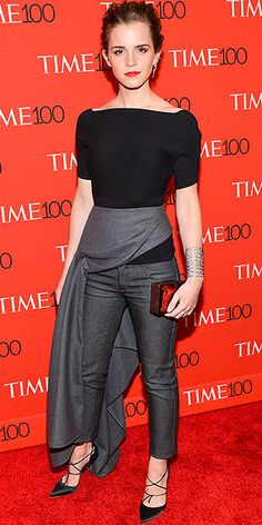 Last Night's Look: Love It or Leave It? | EMMA WATSON  | in a black Dior ensemble consisting of a cashmere top, stretch denim and a wool skirt, plus a Rauwolf clutch and Eva Fehren jewels, at the TIME 100 Most Influential People In The World in N.Y.C.