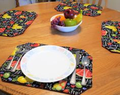 Set Of 4 Floral Placemats, Blue Reversible Placemats, Padded Placemat,  Fabric Place Mat, Table Pad Set, Quilted Placemats, Kitchen Pad By  JustBeautiful161 ...