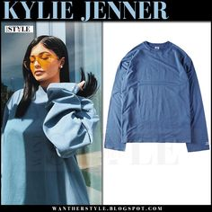 Kylie Jenner in blue oversized sweatshirt vetements