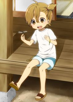 Naru and a dragonfly // Barakamon