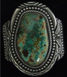 "Turquoise Jewelry Native American Navajo ""Old Pawn"" Sterling Silver Heavy Bracelet with large King Manassa Turquoise Stone Signed by Navajo Artist ""E Bilagody"" Vintage Turquoise, Coral Turquoise, Turquoise Gemstone, Turquoise Jewelry, Turquoise Bracelet, Navajo Jewelry, Sterling Silver Jewelry, Ethnic Jewelry, Luxury Jewelry"