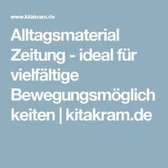 Alltagsmaterial Zeitung - ideal für vielfältige Bewegungsmöglichkeiten   kitakram.de