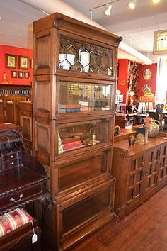 oak barrister bookcases with leaded glass