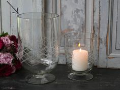 Svícen na nožce Glass 21 cm Glass, Candle Holders, Candles