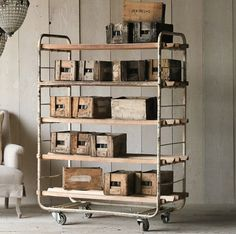 Industrial Bakers Rack - Ideas on Foter Industrial Living, Industrial Interiors, Rustic Industrial, Industrial Furniture, Industrial Trolley, Industrial Storage, Furniture Vintage, Industrial Bakers Racks, Pipe Furniture