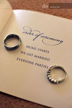 "short wedding ceremony program. It's short, sweet, and totally to-the-point. Basically, ""Music Starts"" and... Plus a FREE Printable. Click here."