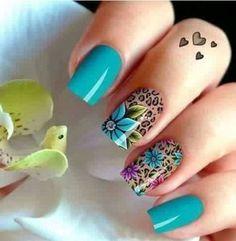 Cute Acrylic Nail Designs, Beautiful Nail Designs, Cute Acrylic Nails, Nail Art Designs, Fabulous Nails, Perfect Nails, Get Nails, Hair And Nails, Peacock Nails