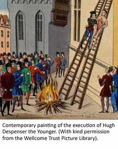 """Contemporary painting: execution of Hugh Despenser the Younger. Despenser became Edward II's """"favorite"""" after the death of Piers Gaveston. Being Edward's male favorite was risky business; here we see Despenser being disem-bowelled in 1326; ordered by Queen Isabella"""