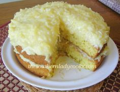 7-Up Cake-This cake has pineapple coconut frosting. It is delicious!