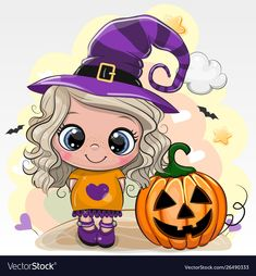 Halloween card with girl in a hat of witch on a yellow background. Cute Halloween card with girl in a hat of witch on a yellow background vector illustration Halloween Imagem, Dulceros Halloween, Halloween Clipart, Halloween Cookies, Cute Halloween Drawings, Halloween Pictures, Cute Drawings, Halloween Mignon, Desenhos Halloween