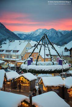 Winter sunset in Mariazell, Austria