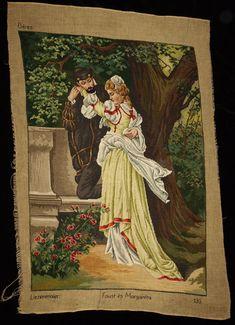 Large Vintage Needlepoint Liezenmaier: Faust and Margareta Gobelin