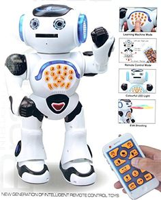 Top Race Remote Control Walking Talking Toy Robot Dances Sings Reads Stories Math Quiz Shooting Discs and Voice Mimicking -- You can get more details by clicking on the image. (This is an affiliate link)