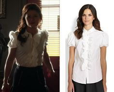 3e3c53e649d348 Red Valentino Poplin Short-Sleeve Ruffle-Front Blouse as worn by Belle in  episode