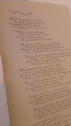 Love poem on lovely old-looking Nideggen paper.