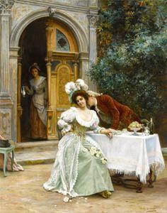 A Garden Flirtation by Jules Girardet (French 1856 – 1938)