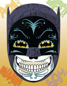 """Batman"" Sugar Skull Print inspired by the character from the 1960's Batman TV Show"