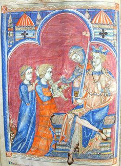 the judgement of Solomon -  MS K.26, one of a sequence of 46 Biblical illustrations (c.1270-80) inserted at the front of a fourteenth-century Psalter (English)