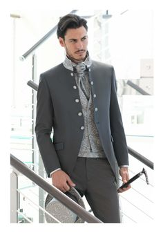 ANDREA VERSALI I like hot the stand collar on the coat shades into military and sherwani while still being subtle. If I marry a mind-bogglingly rich guy, I want to wear this. Wedding Outfits For Groom, Wedding Men, Wedding Suits, Mens Fashion Suits, Mens Suits, Formal Suits, Casual Suit, Groom Dress, Fashion Forward