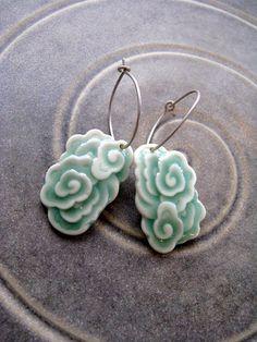 Porcelain Dragon Clouds Earrings by Notenboom Ceramics