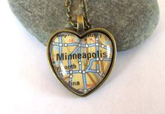 Minneapolis Map Necklace Minnesota Heart by JewelrybyJakemi, $12.50 I would love it in Silver.