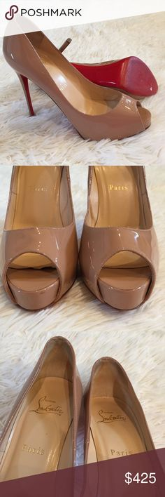 """Christian Louboutin Very Prive 120 Peep Toe Heels Authentic Christian Louboutin Very Prive peep-toe platform pumps. Nude patent leather. 120mm (4.75"""") heel with .5"""" hidden platform. Please note: this style has a shorter toe box. Does not come with box or dust bags. A few minor imperfections: soles have been painted and have slight sticker residue, heel caps are worn, inner front right sole is loose, black mark on outer left shoe. Inner left shoe shows buckling in the leather. Christian…"""